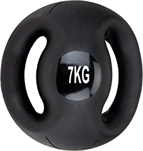 Mind Reader Medicine Ball with Handles, Strength Training, Home Fitness Core Workout, Rubber, Black, 7KG/15.4LB