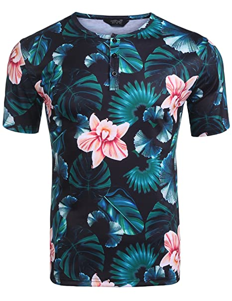375bd36117d COOFANDY Men s Fashion 3D Tropical Floral Print Short Sleeve Henley T-Shirt  Black Small