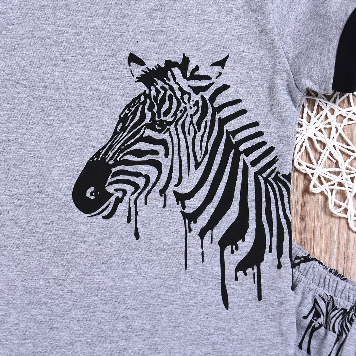 Younger Tree Kids Boys 2-7T Zebra Print Pajamas Sets Cotton Summer Clothes Short Sets