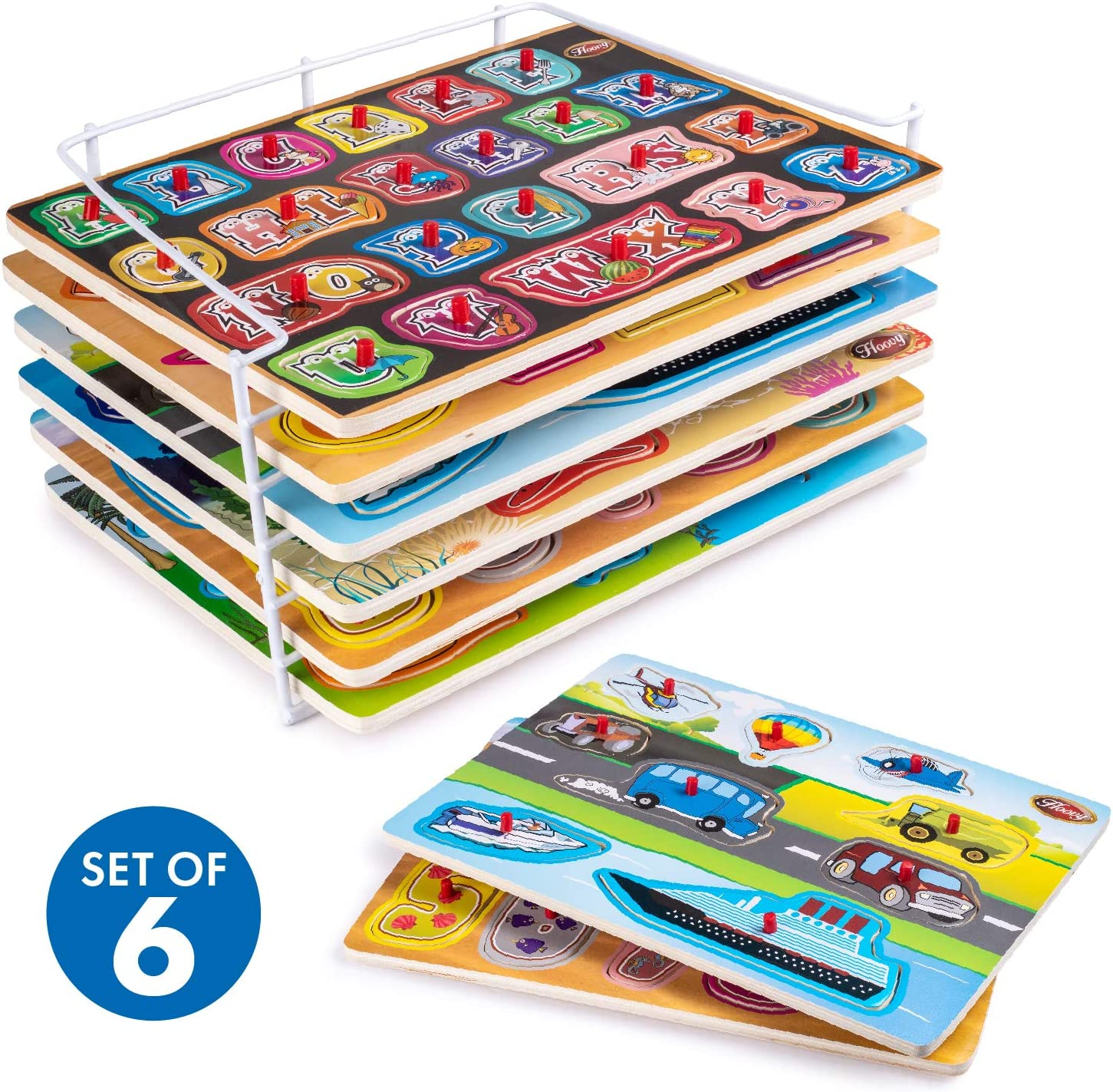Premium Baby Peg Puzzle 6-in-1 Set by Hoovy - 6 Different Themed Educational Knob Puzzles for Boy & Girl Toddlers - Alphabet, Numbers, Sea Life, Dinosaurs, Shapes & Vehicles - Bonus: Storage
