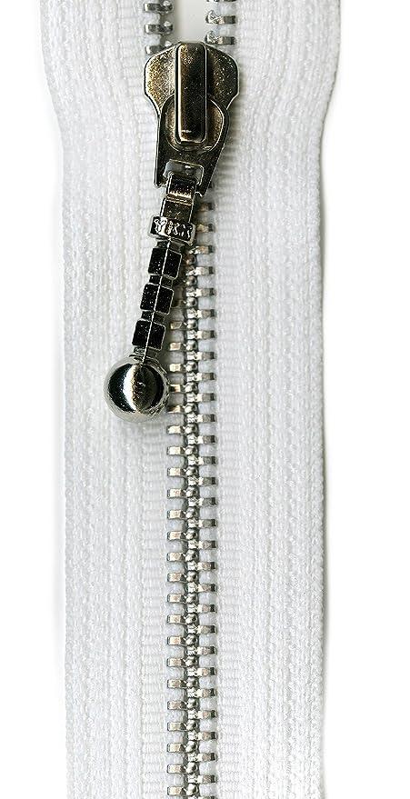 K-Y YKK - Cremallera separadora Decorativa de Aluminio, 55,88 cm, Color Blanco