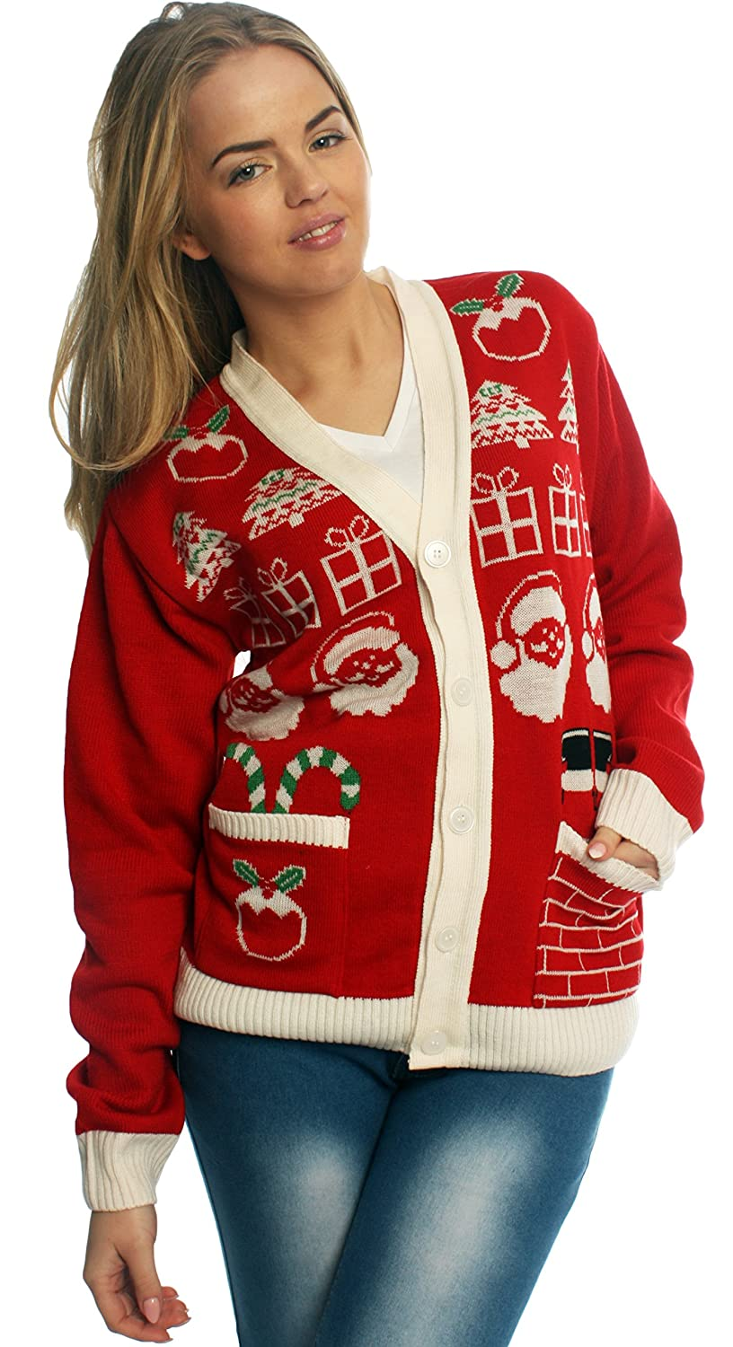 Santa Christmas Jumper Cardigan- Ladies & Mens, Novelty, Red and ...