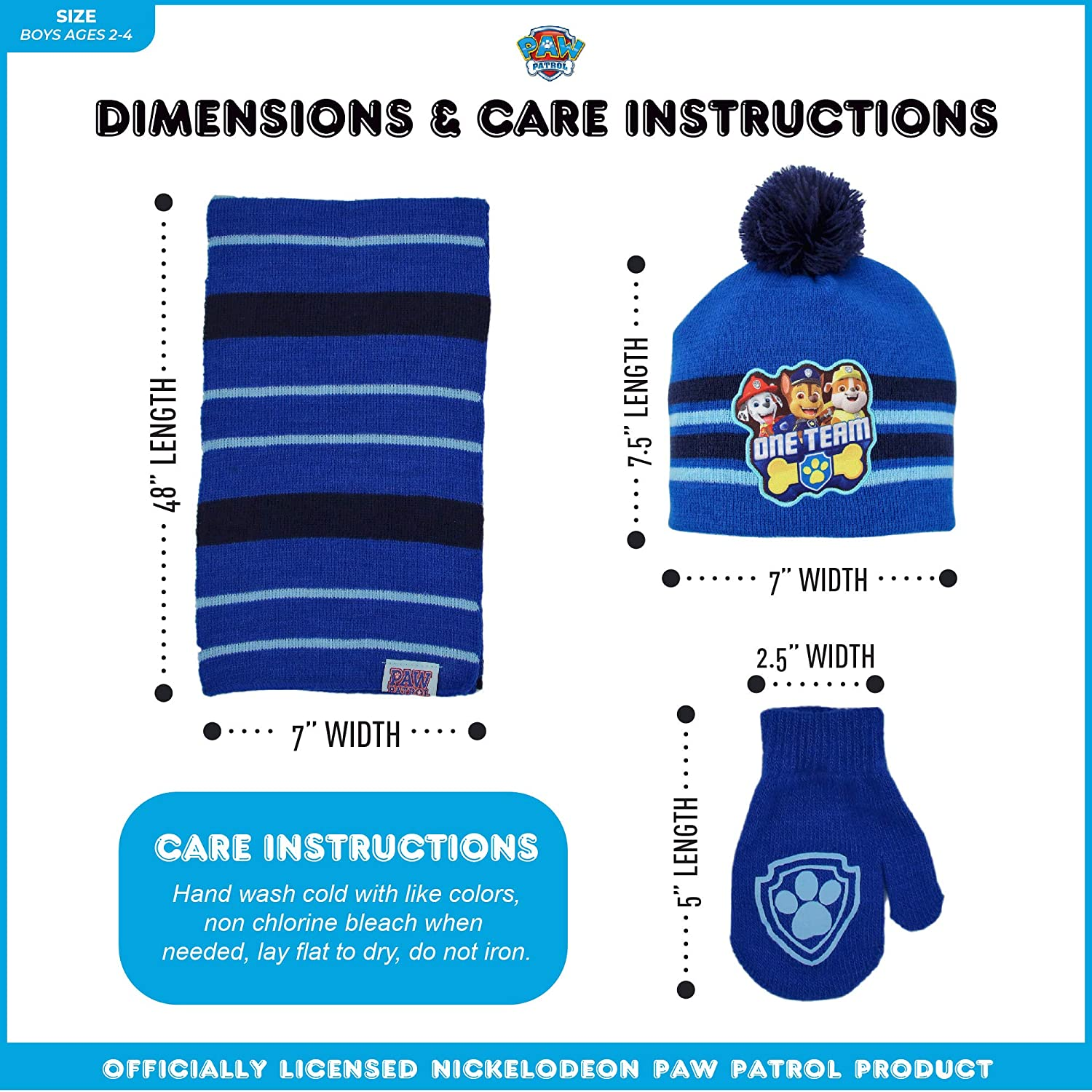 Nickelodeon Boys Paw Patrol Scarf Hat and Gloves Or Mitten Set for Toddler and Little Boys Cold Weather Hat