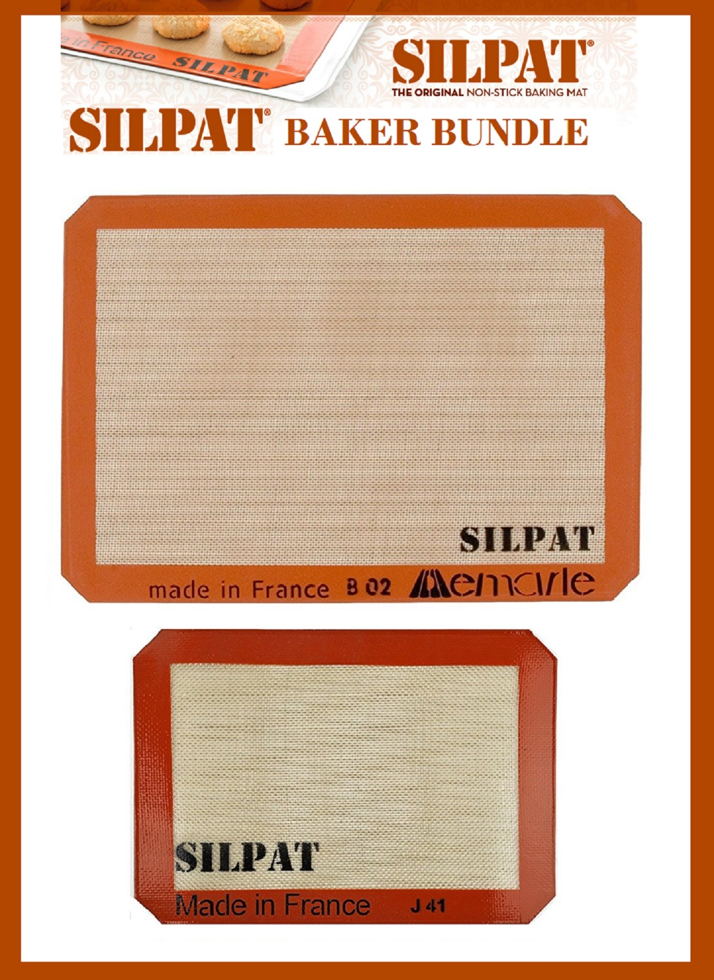 Silpat Bakers Bundle (US Half Size 11-5/8'' x 16-1/2'' Silicone Baking Mat & 8-1/4'' x 11-3/4'' Jelly Roll)