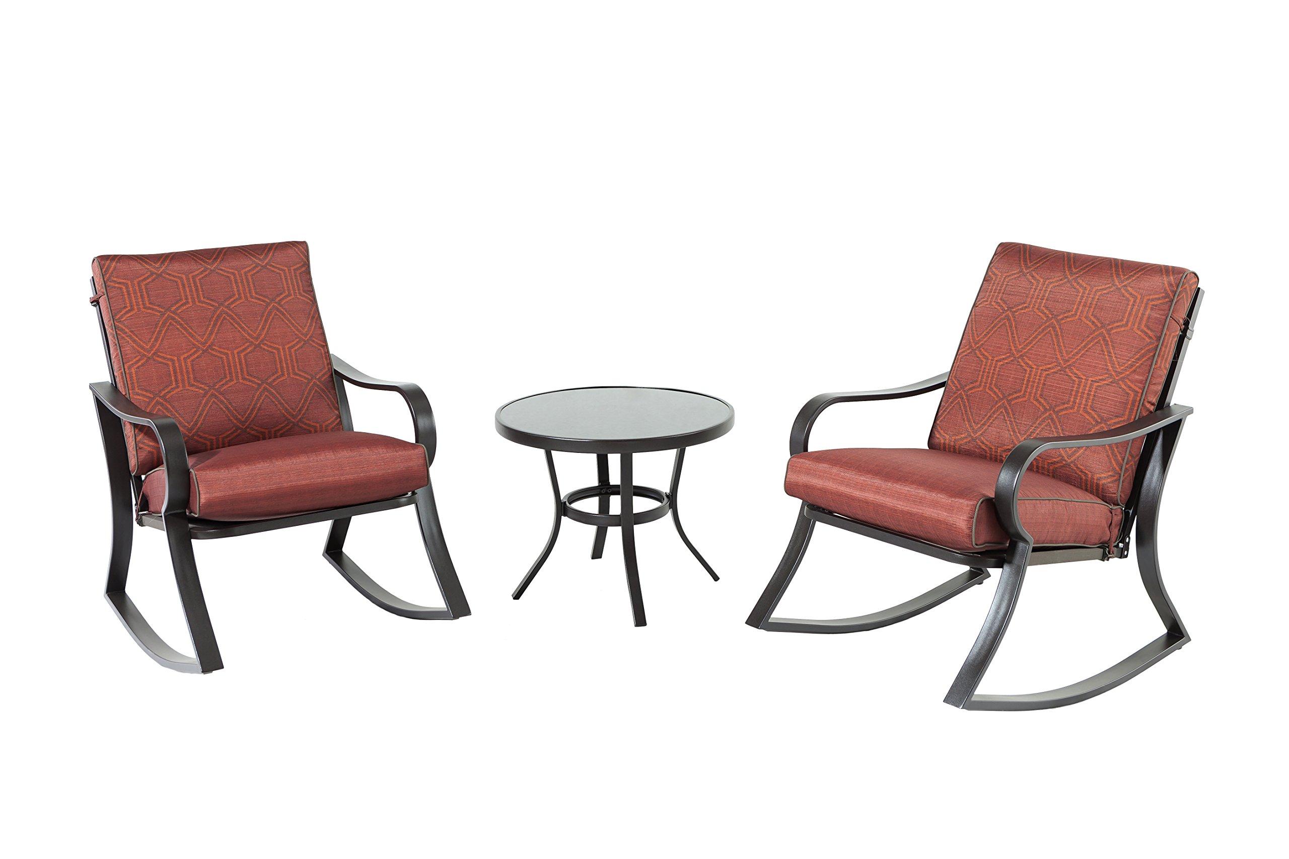 Backyard Classics Carrie 3-Piece Cushion Rocker Chair Set, Red