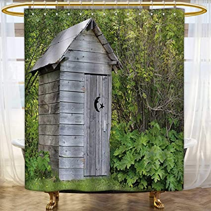 Anhounine Outhouse Shower Curtains Sets Bathroom Vintage Farm Life Cottage Barn Shed In Forest Trees Leaves