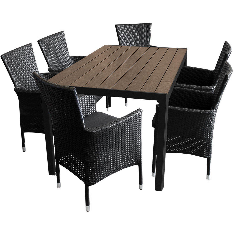 7tlg. Gartengarnitur Aluminium Gartentisch 150x90cm mit Polywood Tischplatte stapelbare Polyrattan Gartensessel inkl. Sitzkissen