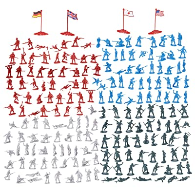 200-Piece Military Figures Set - Toy Soldiers Army in 4 Colors, World War II Minifigures Play Set with 4 Flags, America, England, Germany and Japan: Toys & Games