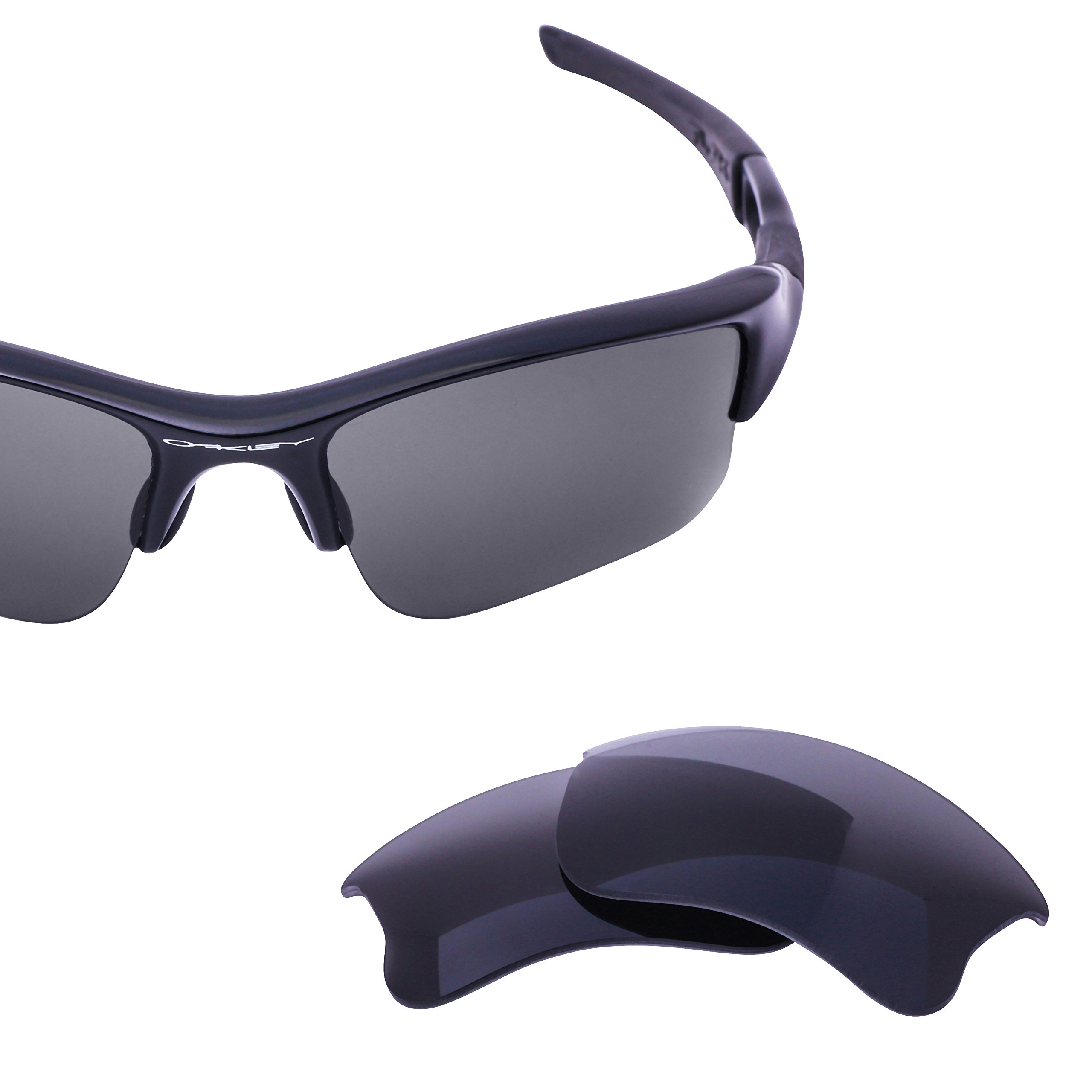 LenzFlip Replacement Lenses for Oakley FLAK Jacket XLJ Sunglass - Gray Black Polarized Lenses by LenzFlip