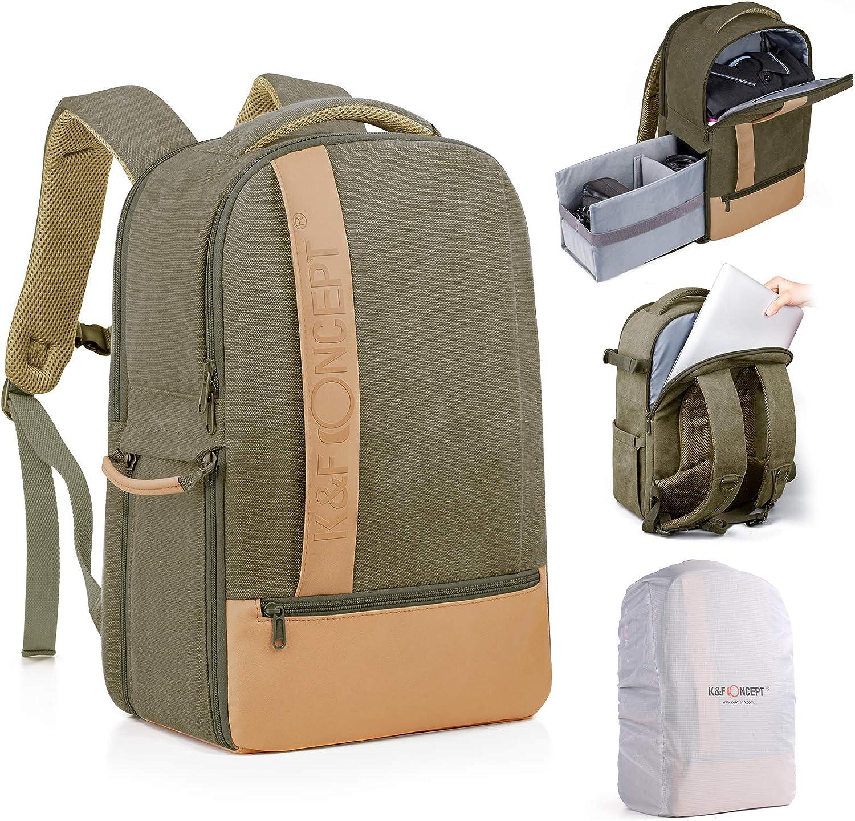 K&F Concept Mochila Fotográfica, Mochila Fotografía 2 en 1 para Cámara y Portátil de 14 y 15