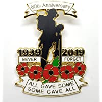 best badge: 1939-2019 WW1 Military Veteran Soldier Never Forget Red Poppy Pin Badge Brooch