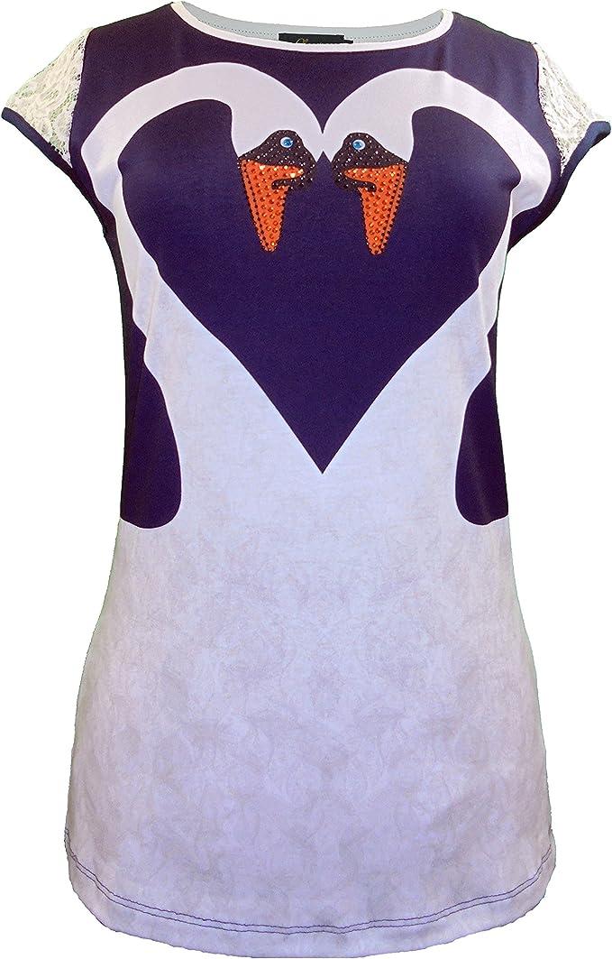 Camiseta mujer azul y blanco manga blonda cisnes estampados en blanco formando un corazón tshirt Lutasha (XL): Amazon.es: Ropa y accesorios