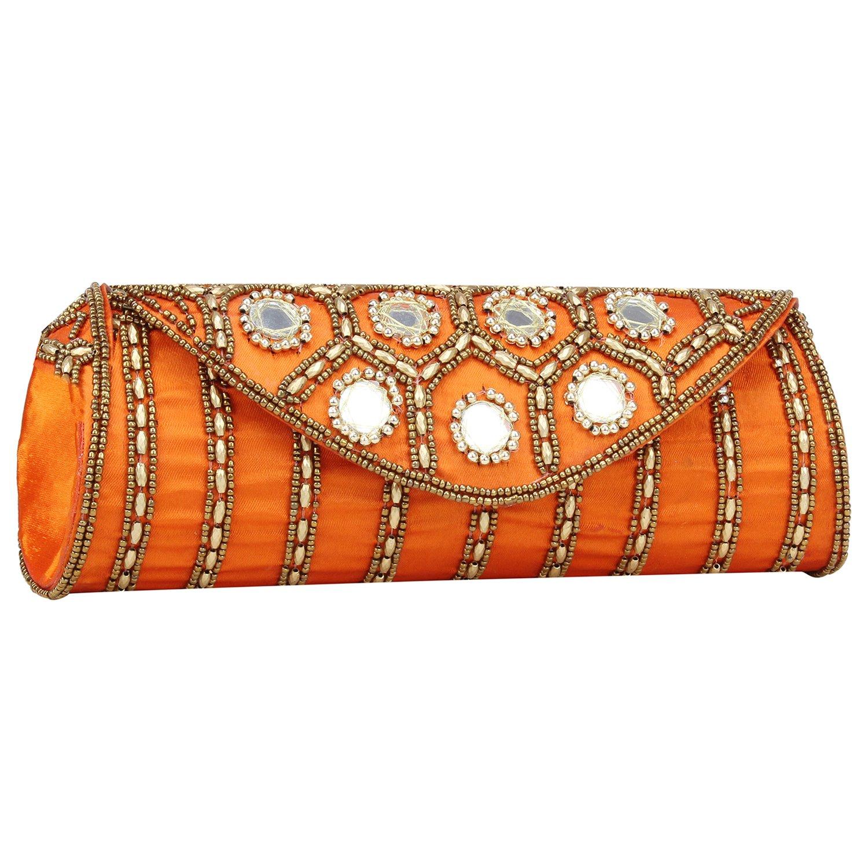 Women Sizzling Jaipuriya Style Hand-Cum-Wedding Clutch (Orange) by Suman Enterprises