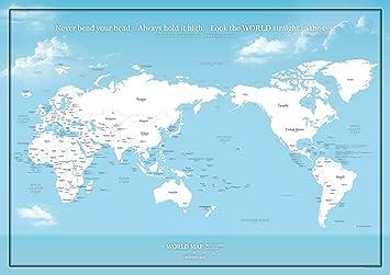 国名と首都が分かる 大きな世界地図ポスター 空色 ミニマルマップ 英語かな A1サイズ