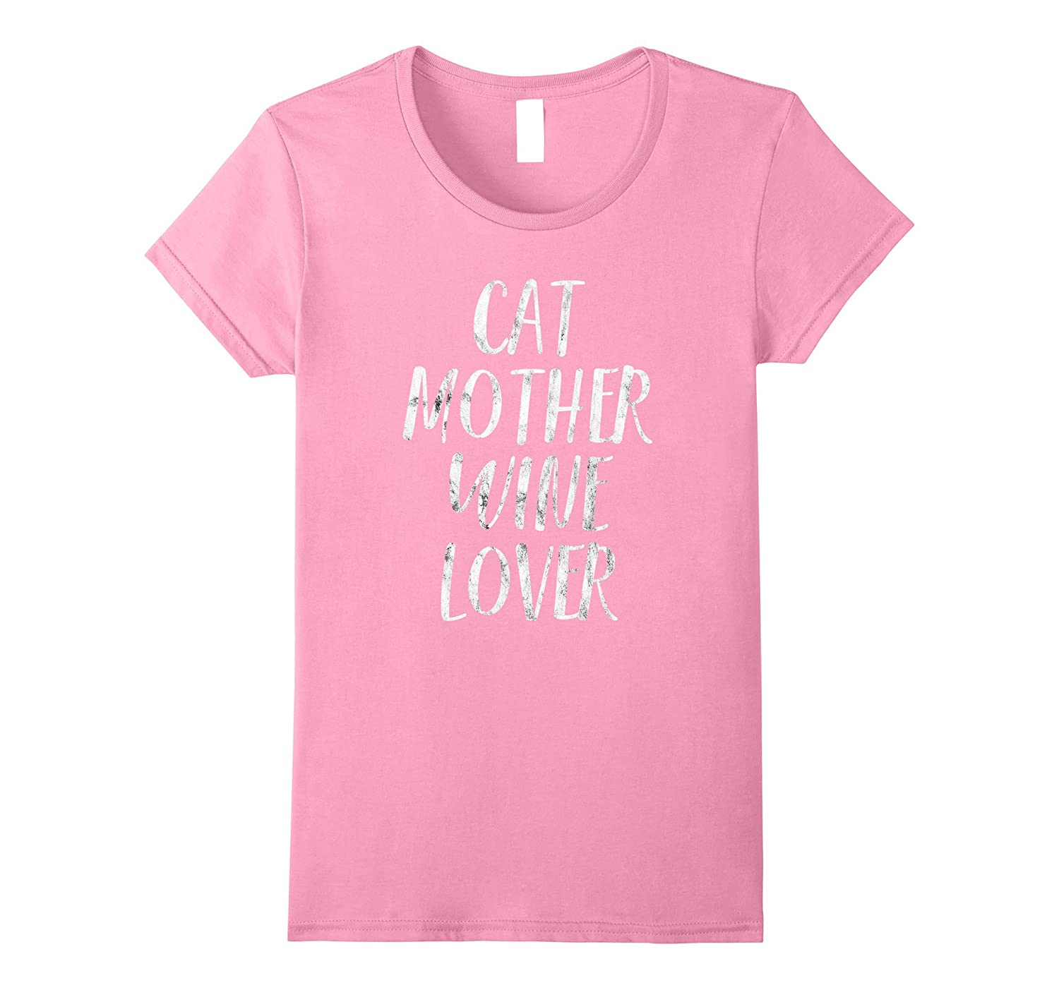 Womens Cat Mother Wine Lover: Funny Pet Dog & Wine T-Shirt Gift-AZP