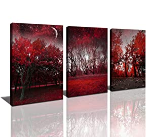 Cao Gen Decor Art-AH40334 Canvas Prints 3 Panels Framed Wall Art Red Trees Paintings Printed Pictures Stretched for Home Decoration