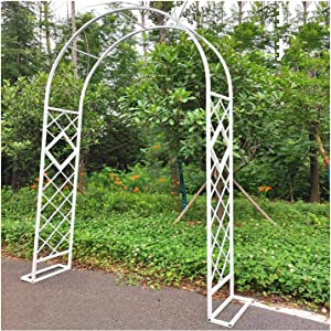 H7.5/9ft Garden Arch Trellis for Various Climbing Plant,Wedding Arbor Outdoor Garden Lawn Backyard Rose Archway Arbour White 140x230cm,140x270cm