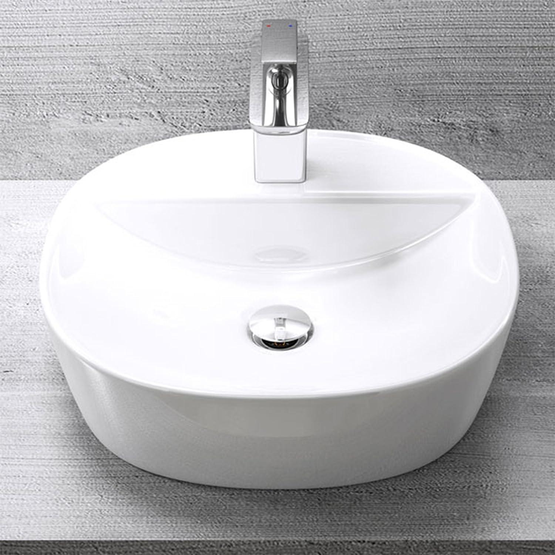 Lavabo vasque à poser évier bruxelles 327 rectangulaire arrondi blanc traitement anticalcaire céramique larg 40 cm