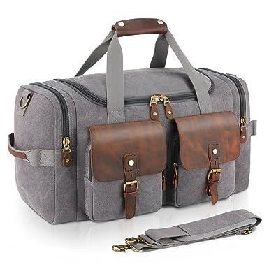 7aea7e79cad9 Plambag Leather Canvas Duffle Bag Oversized Overnight Weekend Luggage Bag