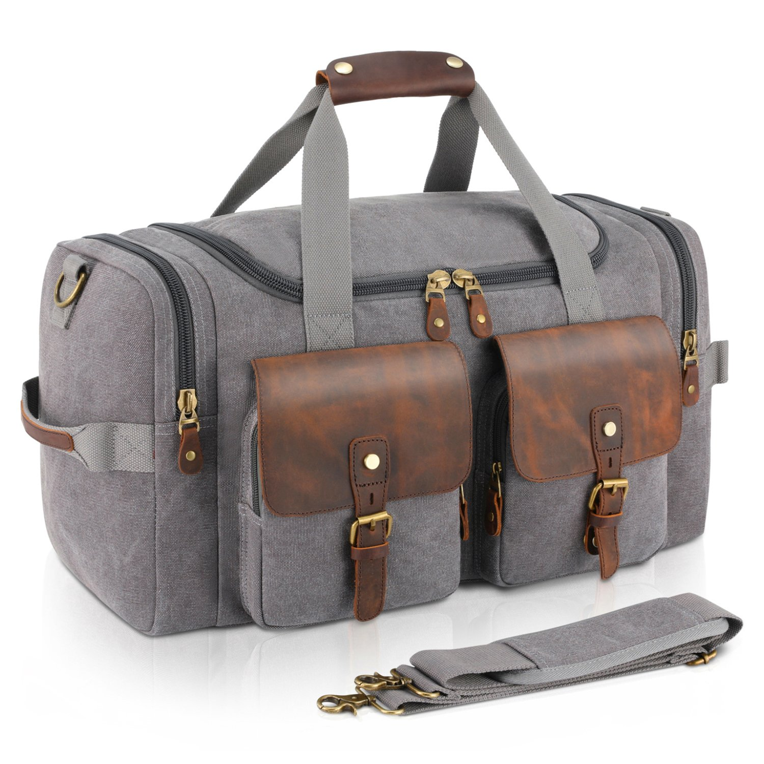 Plambag Leather Canvas Duffle Bag Oversized Overnight Weekend Luggage Bag(Gray)