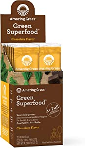 Amazing Grass Green Superfood: Super Greens Powder with Spirulina, Chlorella, Digestive Enzymes & Probiotics, Chocolate, 15 Servings
