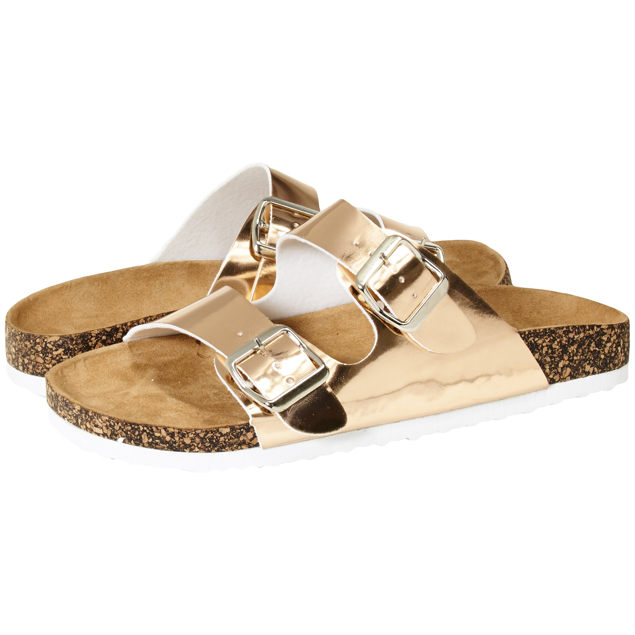 Sara Z Womens Two Buckle Strap Cork Footbed Slide Sandals Size 5/6 Rose Gold