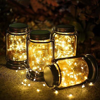 Solar Crackle Glass Light Outdoor Lawn Party Hanging LED Mason Jar Light