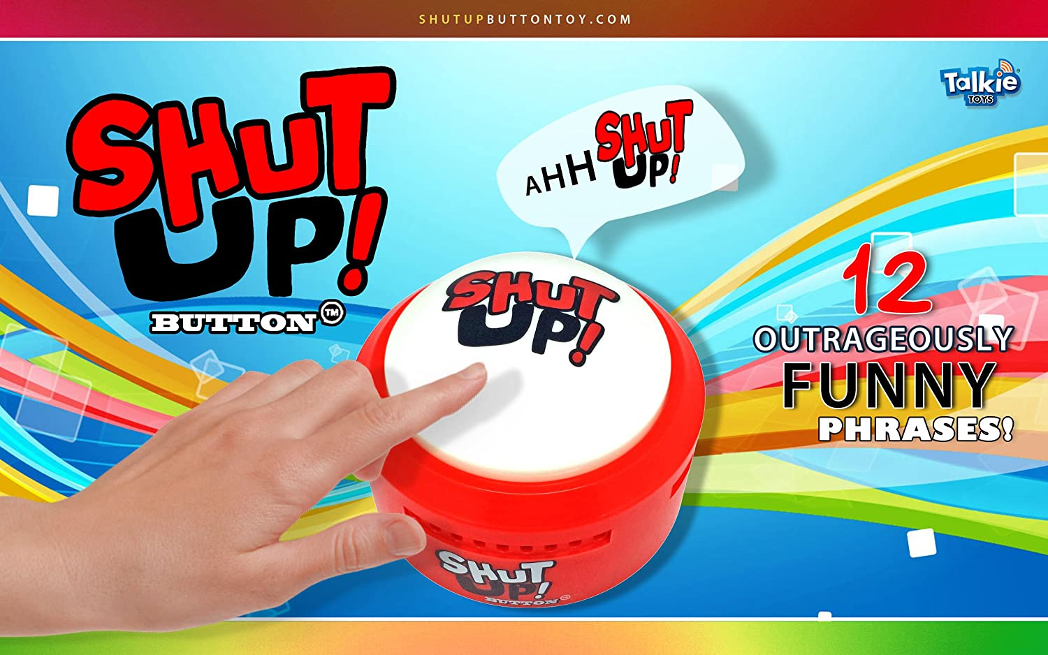 Shut Up Button Talking Button Features Hilarious Shut Up Sayings Talking Novelty Gift with Funny Sound Clips