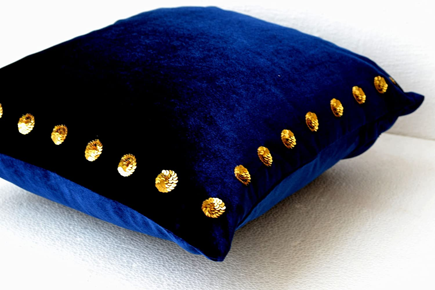amazoncom navy blue pillow covers navy blue pillow in velvet  - amazoncom navy blue pillow covers navy blue pillow in velvet with goldsequin detail x navy blue throw pillows in velvet toss pillows gift