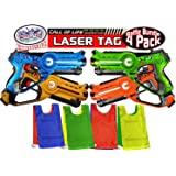 "Matty's Toy Stop ""Call of Life"" Infrared (IR) Laser Tag Blasters for Kids Red, Green, Blue & Yellow Deluxe Gift Set Battle Bundle with 4 Reversible Team Vests - 4 Pack"