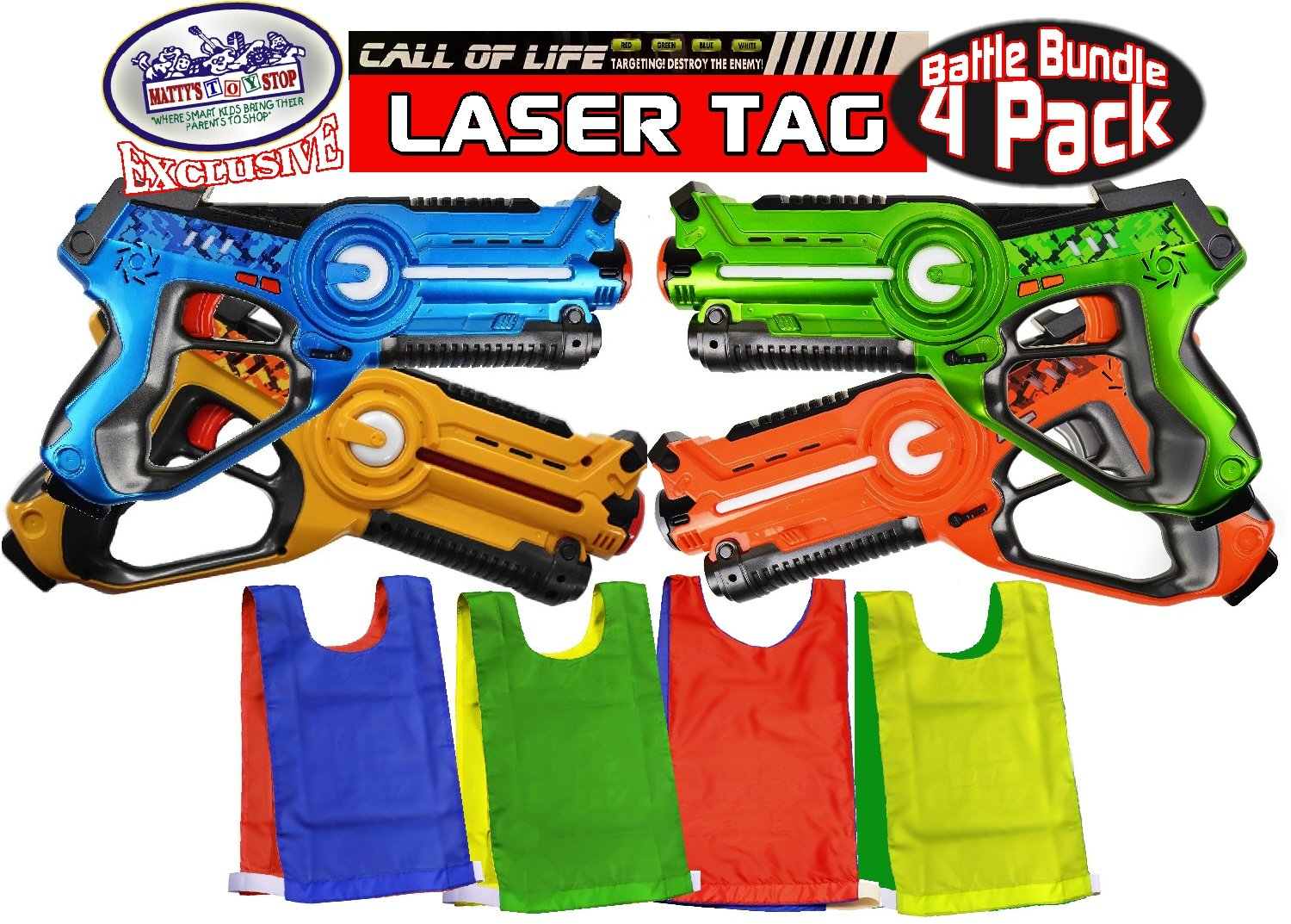 Matty's Toy Stop ''Call of Life'' Infrared (IR) Tag Blasters for Kids Red, Green, Blue & Yellow Deluxe Gift Set Battle Bundle with 4 Reversible Team Vests - 4 Pack