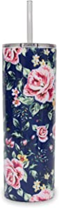 Ice Shaker 20oz Stainless Steel Skinny Tumbler with Lid and Straw (Navy Floral)   Gronk Shaker