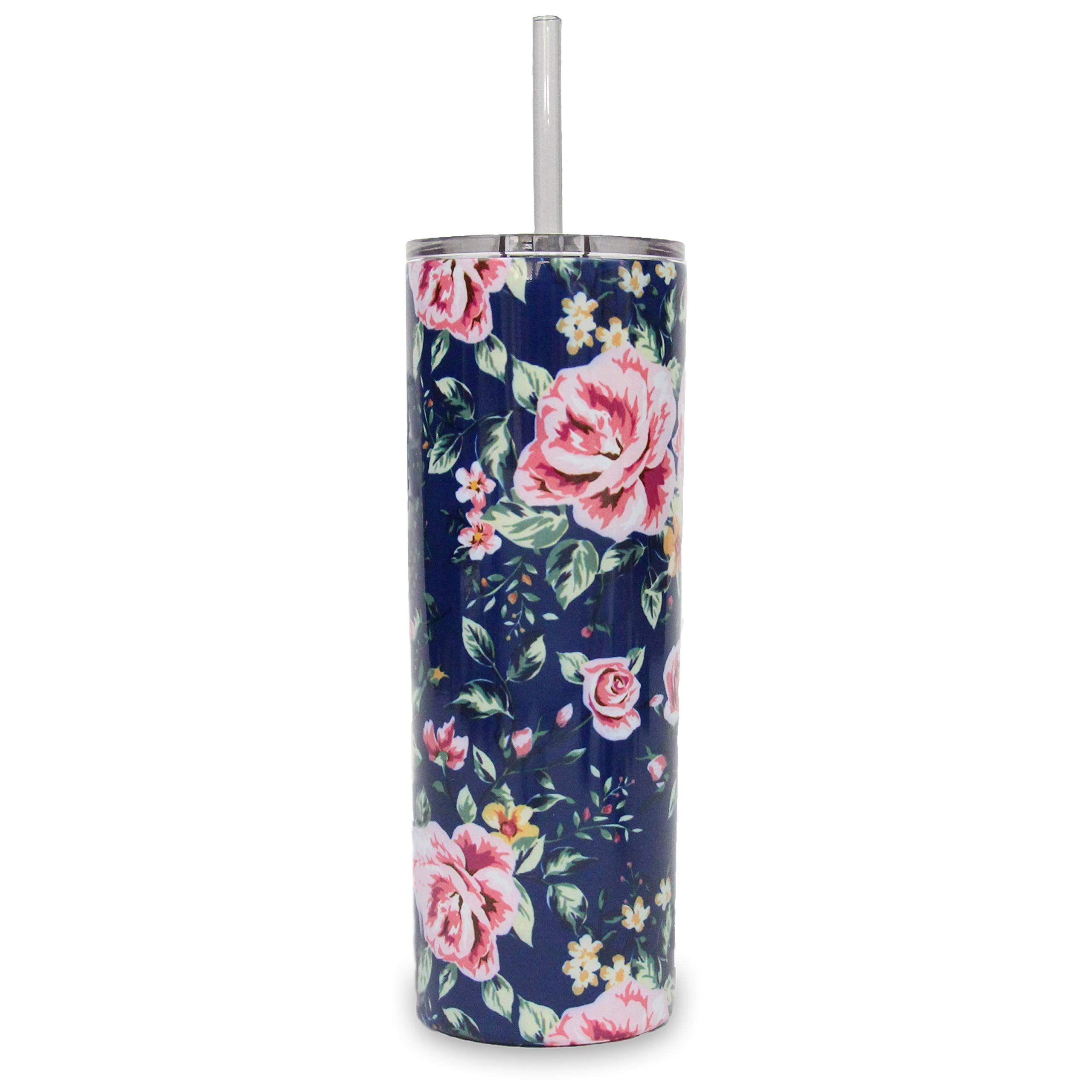 Ice Shaker 20oz Stainless Steel Skinny Tumbler with Lid and Straw (Navy Floral)