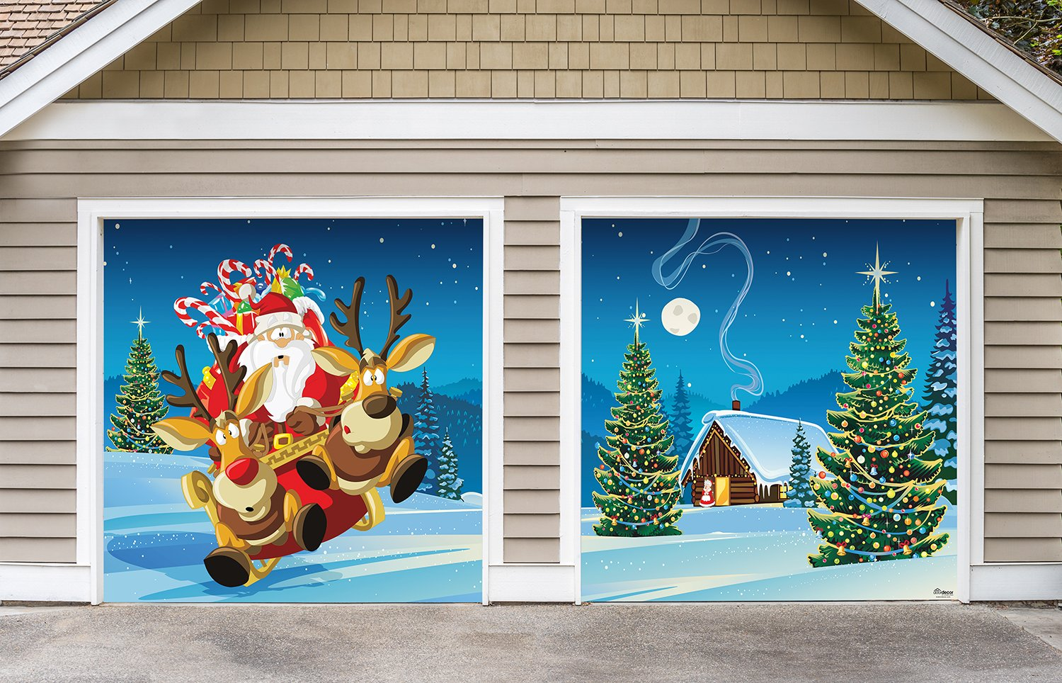 Outdoor Christmas Holiday Garage Door Banner Cover Mural Décoration - Santa's Take Off - Outdoor Holiday 2 Car Split Garage Door Banner Décor Sign , Two 7'x 8' Graphic Kits