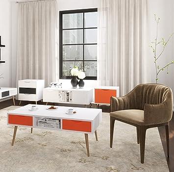MbelfreudeR Couchtisch QuotAlminaquot Tisch Wohnzimmertisch Rechteckig Mit 2 Schubladen 110x67x40 Cm Weiss
