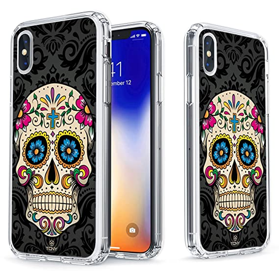 new style 5b41d 66b0e True Color Case for iPhone Xs, iPhone X Skull Case - Clear Shield Sugar  Skull on Damask Printed on Clear Back - Perfect Soft and Hard Thin Shock ...