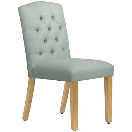 Skyline Furniture Tufted Arched Dining Chair In Linen Swedish Blue