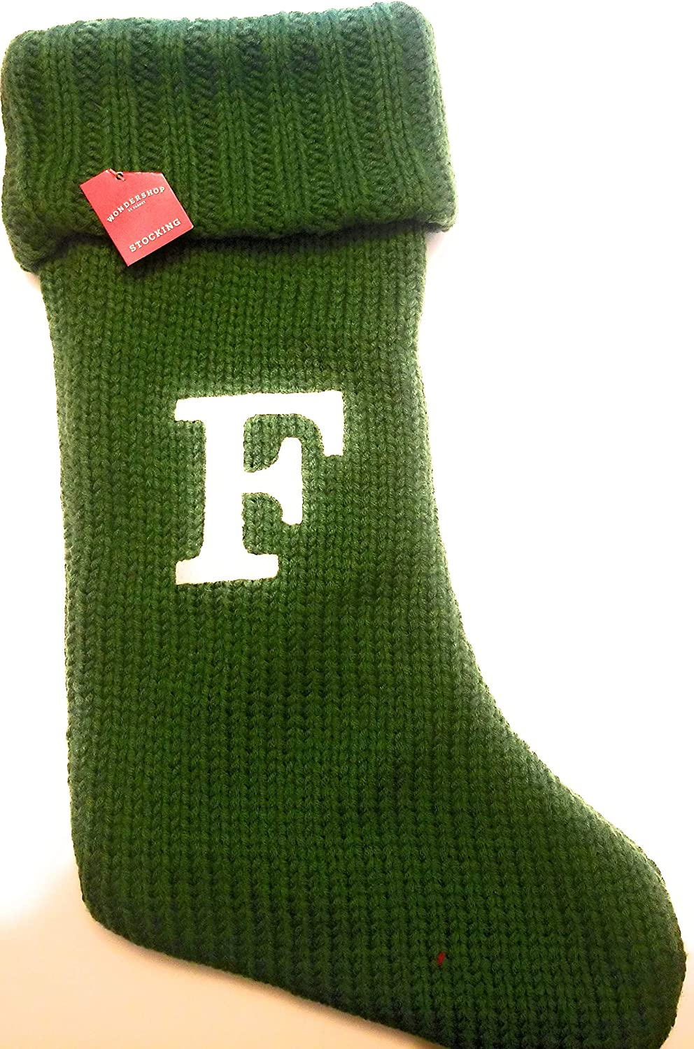 Wondershop Holiday Christmas Green Thick Knit Stocking Sock 19 Inches Monogram Letter F Mantel Decoration