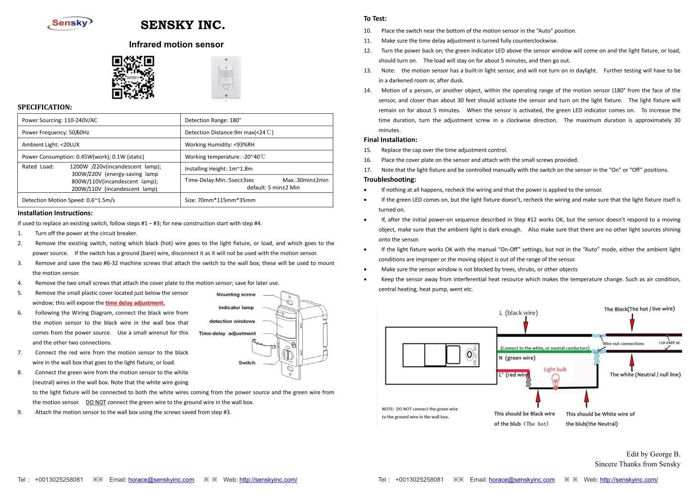 Sensky Bs033c 110v Motion Sensor Light Switch 180 Degree View Wiring A Pir Occupancy Wall 3 Wires Neutral Wire Required