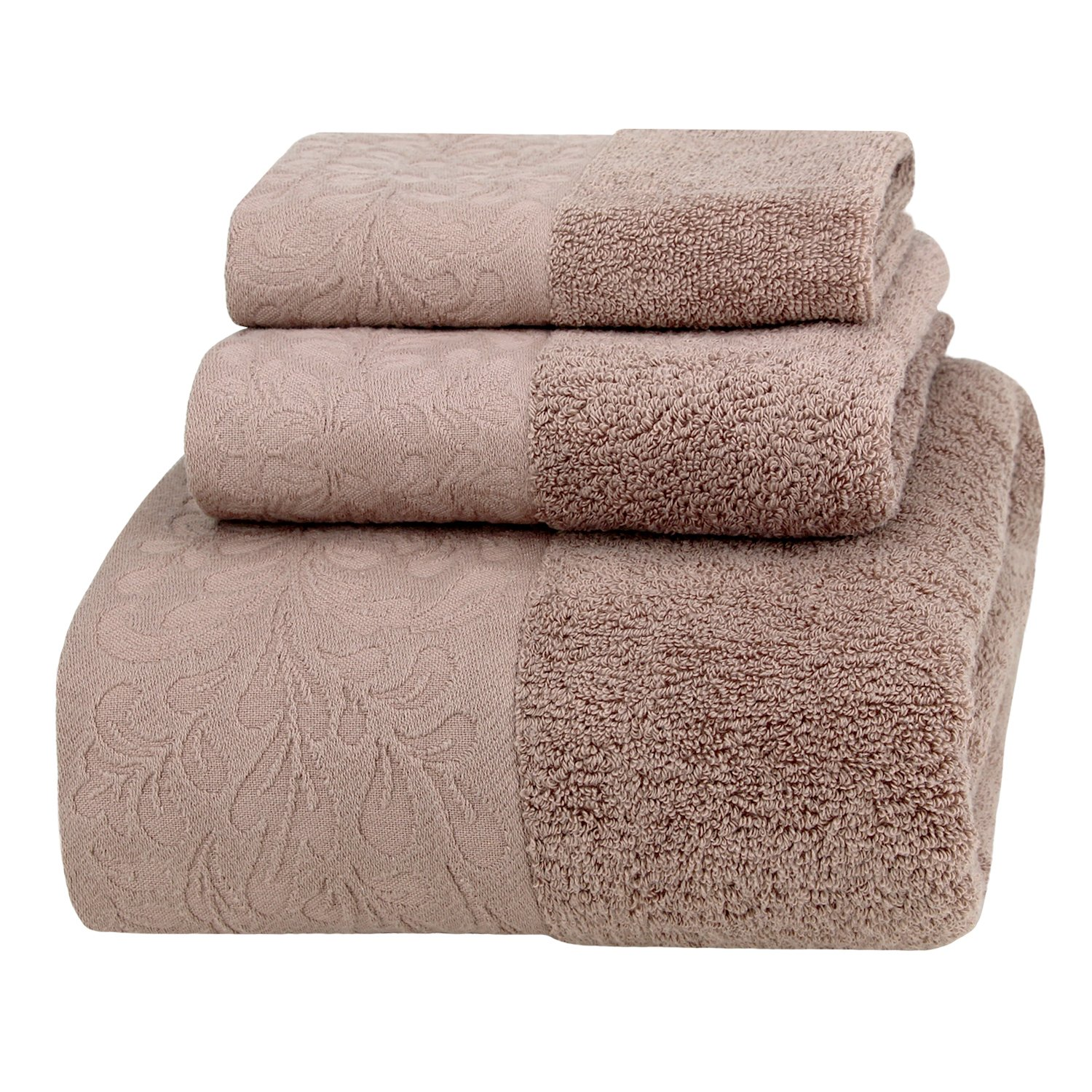 Premium Spa & Hotel Bath Towel Set, 100% Cotton, Highly Absorbent, Super Soft and Eco-friendly, 3 Pieces with 1 Oversized Bathroom Towel (28''x55''), 1 Hand Towel, 1 Washcloth. (Taupe Brown)