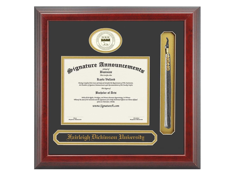 Signature Announcements Fairleigh-Dickinson-University Undergraduate Sculpted Foil Seal Name /& Tassel Graduation Diploma Frame 16 x 16 Cherry