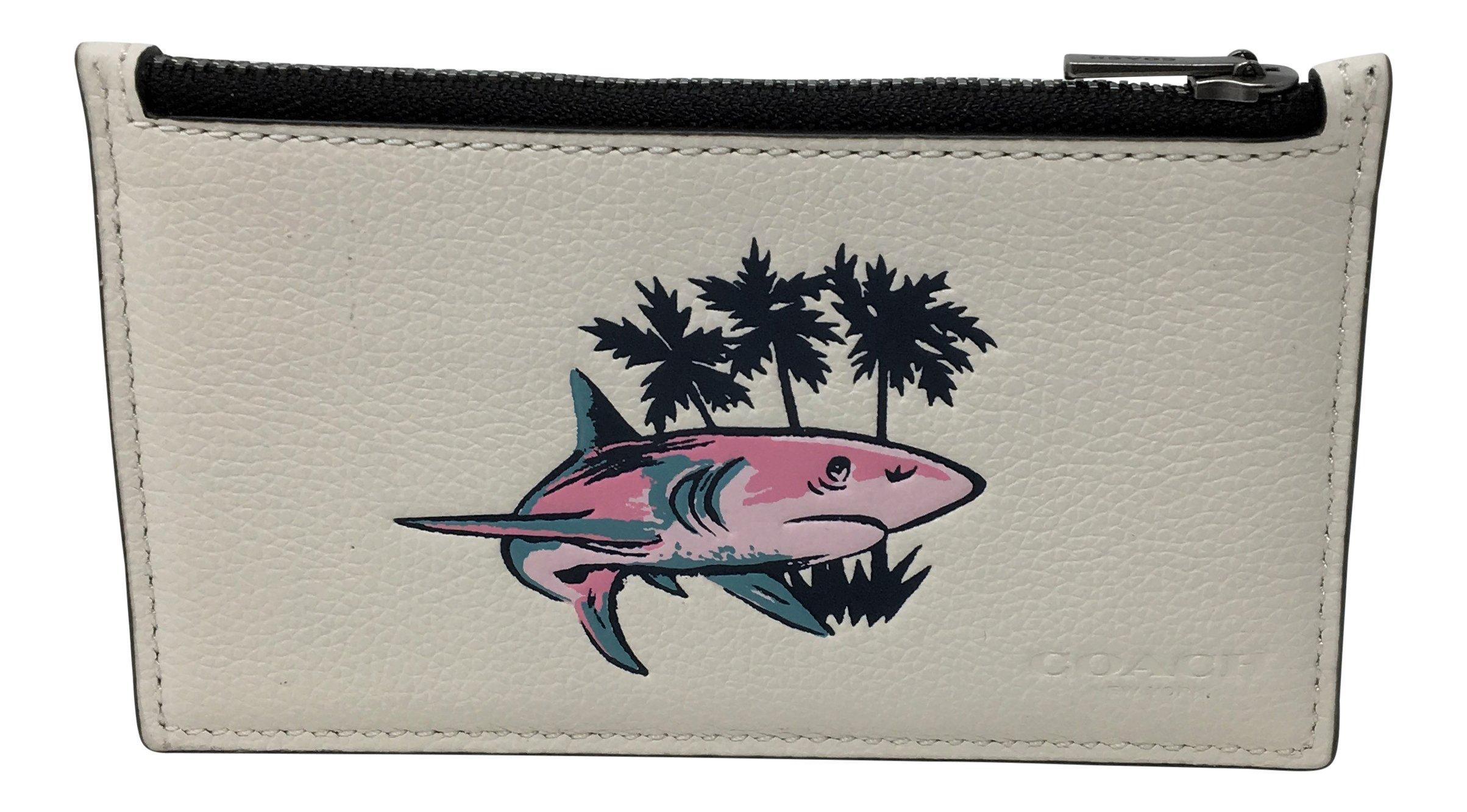 Coach Zip Credit Card Case Shark Print Chalk Multi Wallet F29271
