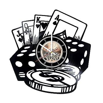 Fichas de poker – Reloj de pared de disco de vinilo Play habitación decoración de la