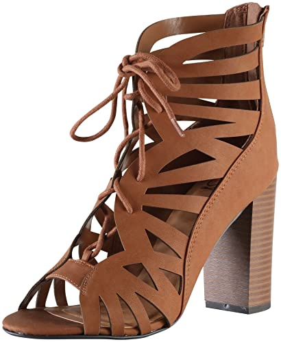8b676988235 SODA Delicious Women s Detour Cut Out Caged Peep Toe Chunky Stacked Heel  Sandal