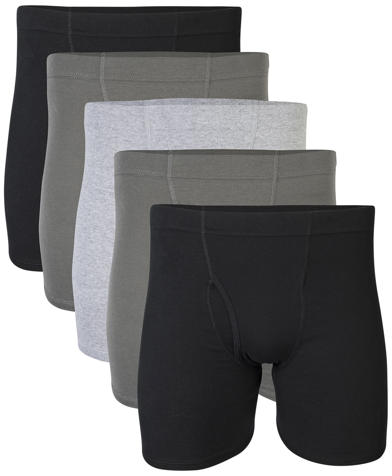 Gildan Men's Covered Waistband Boxer Brief 5 Pack, Grey/Black, Medium