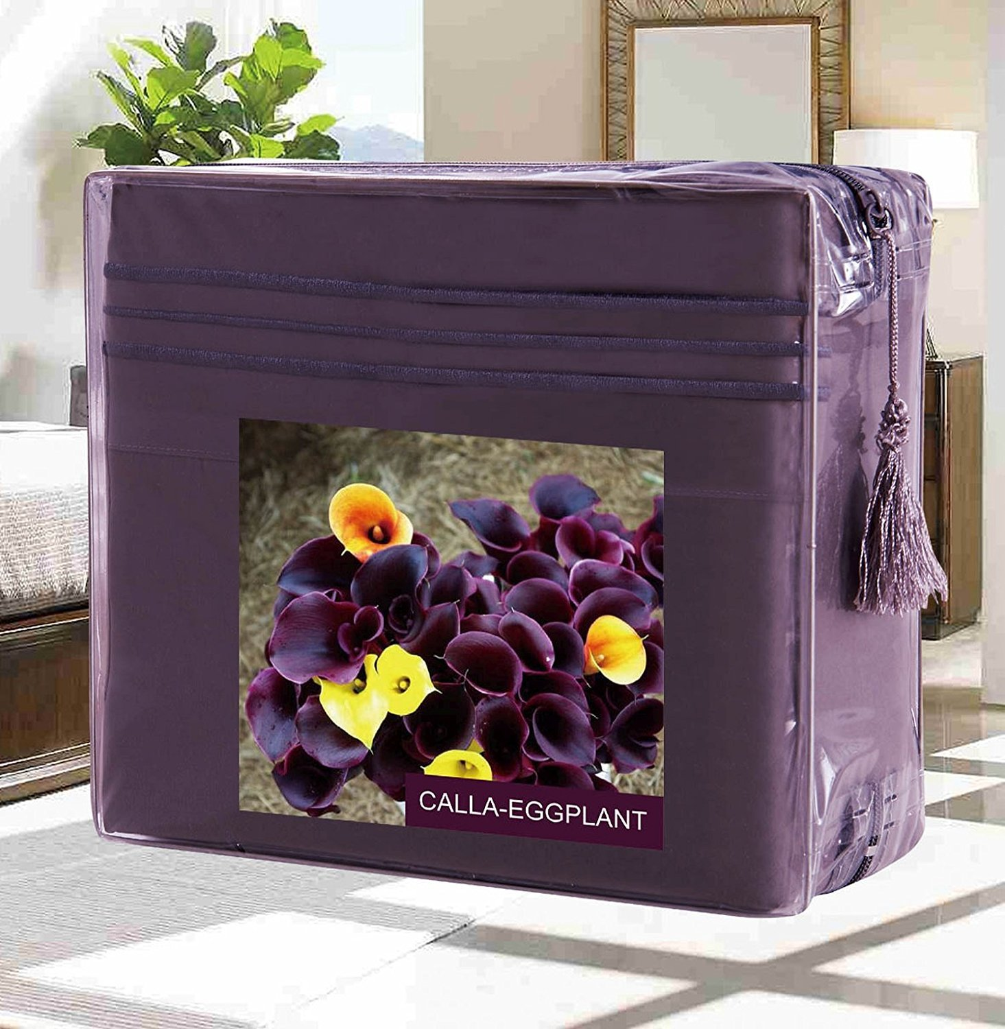 Egyptian Quality 2-Pieces Pillowcases- Flower Collection- Standard Size, Calla-Eggplant