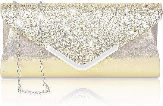 Damara Elegant Strassstein Damen Abendtasche Handtasche,Gold