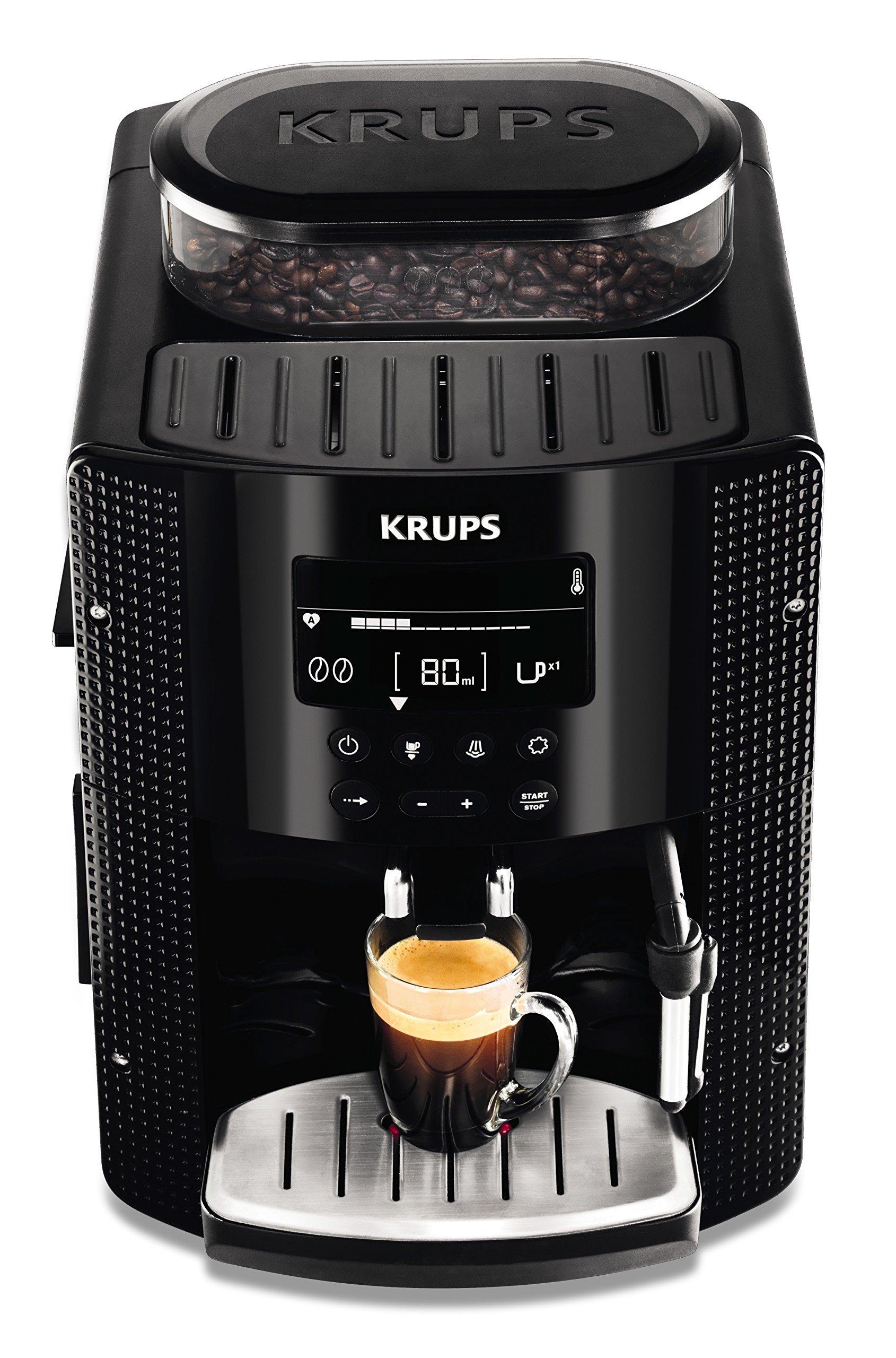 Krups EA815070 - Cafetera Automática 15 Bares de Presión, Pantalla LCD, 3 Niveles de
