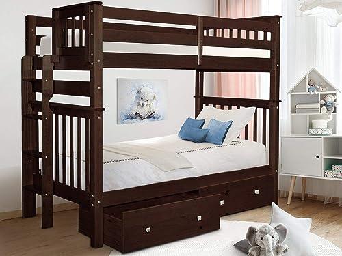 Bedz King BK161EL-Dark-Cherry-Drawers Bunk Bed