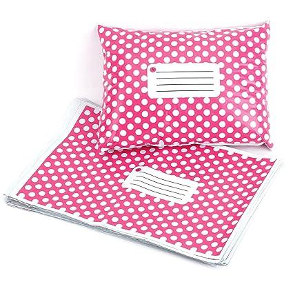 Hamimelon - 50pcs Bolsas Sacos Sobres Postales para Envíos por Correo Bolsas de Plástico, Rosa con puntos blancos (305X406MM)